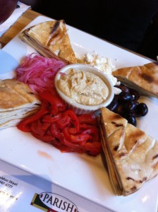 Hummus Platter with roasted red peppers/onions/feta/olives