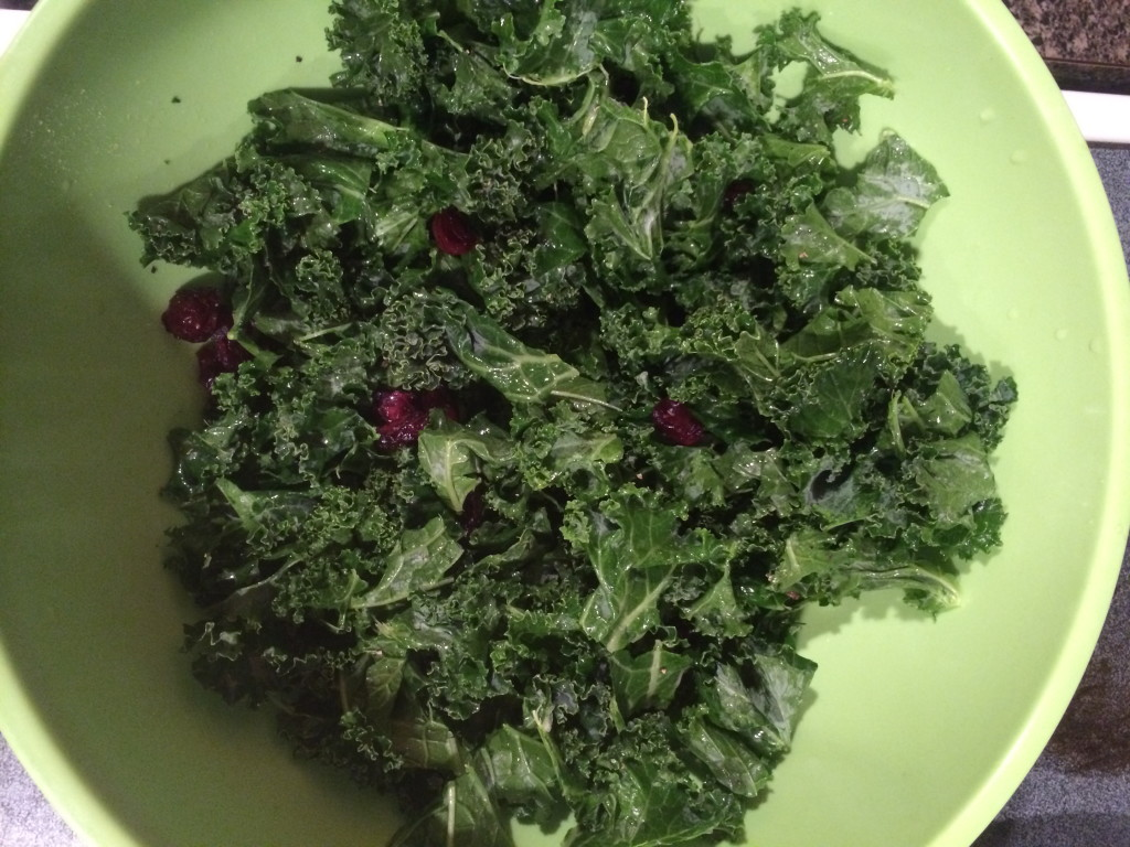 Raw kale, washed and torn apart with my hands!