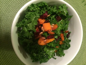 KALE SALAD WITH BUTTERNUT SQUASH AND OLIVE OIL VINAIGRETTE